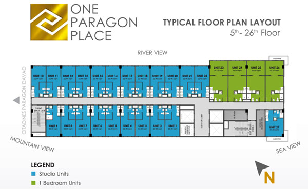 one paragon place typical floor lay out