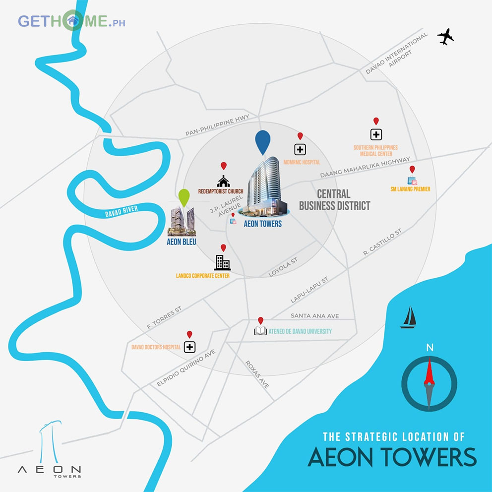 Where is the location of Aeon Towers Davao and Aeon Bleu