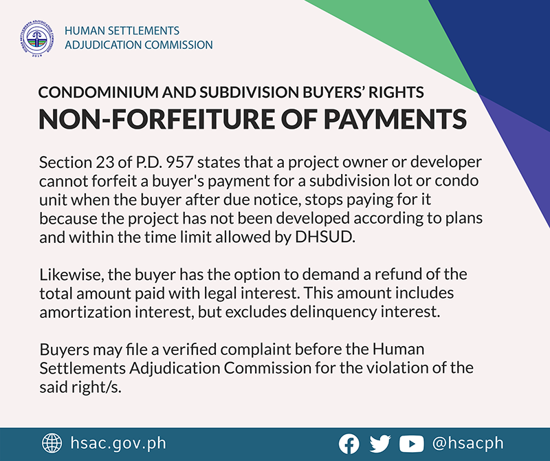 Condominium and Subdivision Buyers' Right Non-Forfeiture of Payments